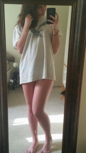 amateur photo Stole my bf's shirt :)
