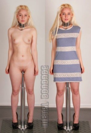 amateur photo blond on a pole