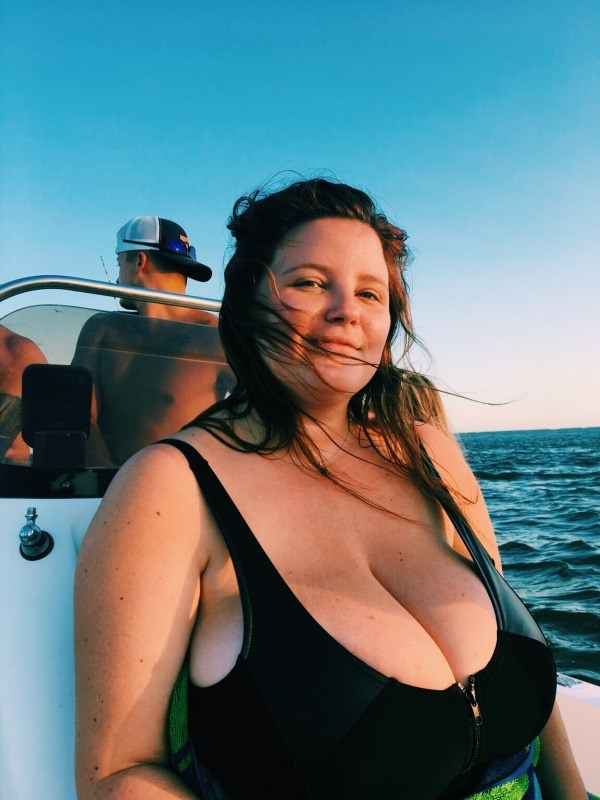 Huge tits on a boat
