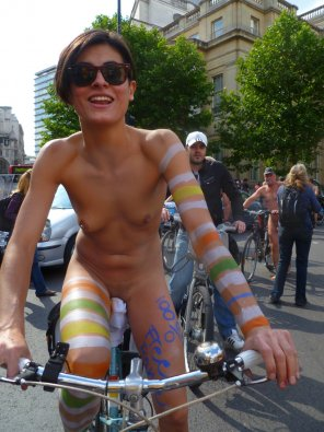 amateur photo flat-chested short hair naked cyclist on the street