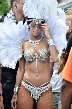 amateur photo Rihanna at Kadooment Day celebration in Bermuda