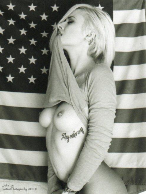 amateur photo Flashing the flag
