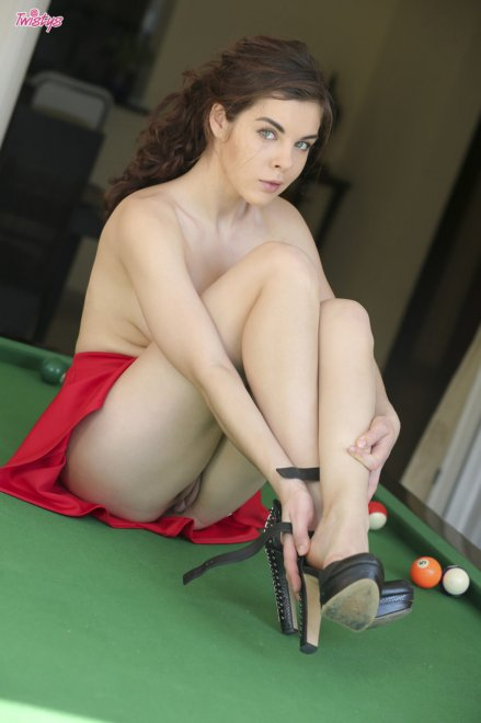 Red Skirt and Heels on a Pool Table Porn Photo