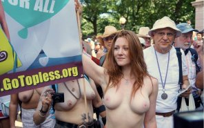 amateur photo Women Bare Breasts For NYC Go Topless Day 2014