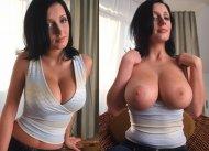 Black hair, big tits