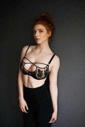 amateur photo Red hair wearing pretty bra