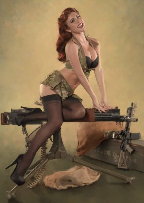 amateur photo Machine gun pinup