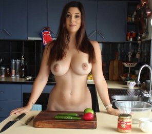 amateur photo Naked cooking