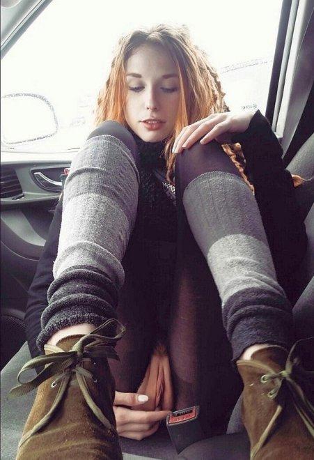 Flashing in a car Porn Photo