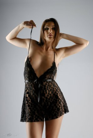 amateur photo Petula playing with the strap of her dress