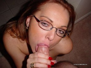 amateur photo Freckels and a mouthful of dick