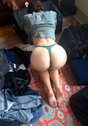 amateur photo Green thong