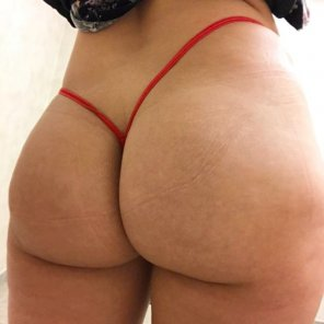 amateur photo Thing of the day!!! Today I have on my tiny red micro thong!!