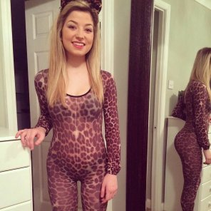 amateur photo Leopard print catsuit.