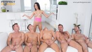 Belle Francys multi-blowjob & hot bukkake scene with 5 guys!