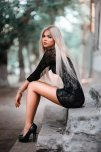 amateur photo White hair, mini dress, and heels only a real woman could walk in. Gorgeous!