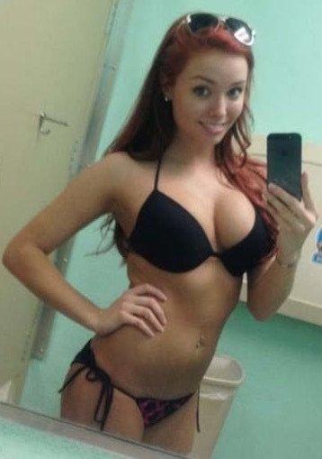 Busty Red Head Bathroom Selfie Porn Photo
