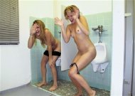 Girls caught in the mens restroom