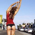amateur photo Walking down the street
