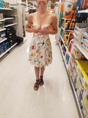 amateur photo Showing off my little boobs while out shopping