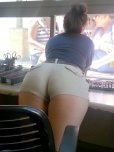 amateur photo Booty bending over at the booth