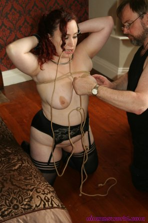 amateur photo Obediently holding position for tit bondage