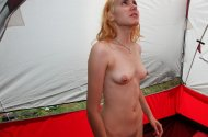 amateur photo Blonde In a Tent