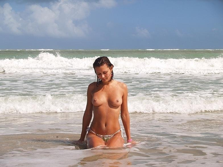 on the beach topless Porn Photo