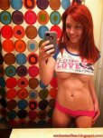 amateur photo Redhead selfie with underboob and nice abs
