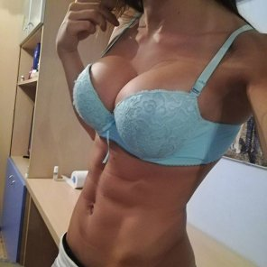 amateur photo Baby blue bra