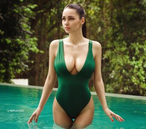 amateur photo Helga Lovekaty and her green swimsuit