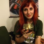 amateur photo Red hair and red wine.