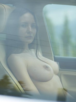 amateur photo In a car