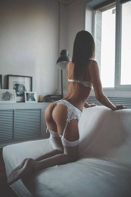 White Lingerie Porn Photo