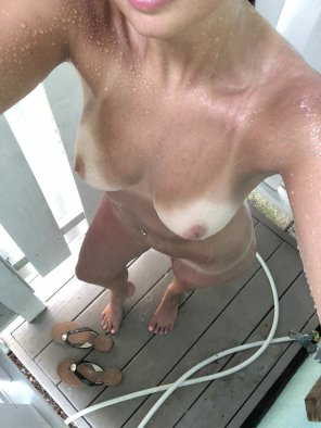 amateur photo Showering outside is my favorite