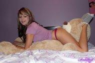 Enjoying her new teddy bear!