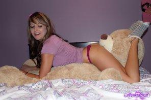 amateur photo Enjoying her new teddy bear!