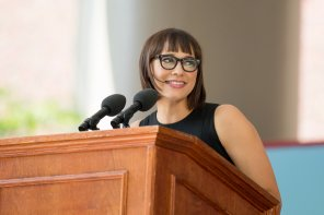 amateur photo Rashida Jones delivering a commencement speech at Harvard this year