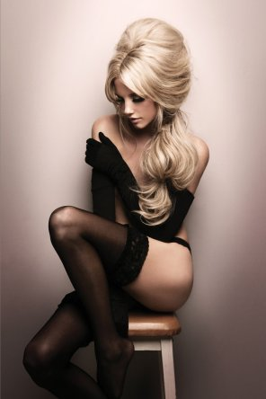 amateur photo Beautiful blonde in black stockings