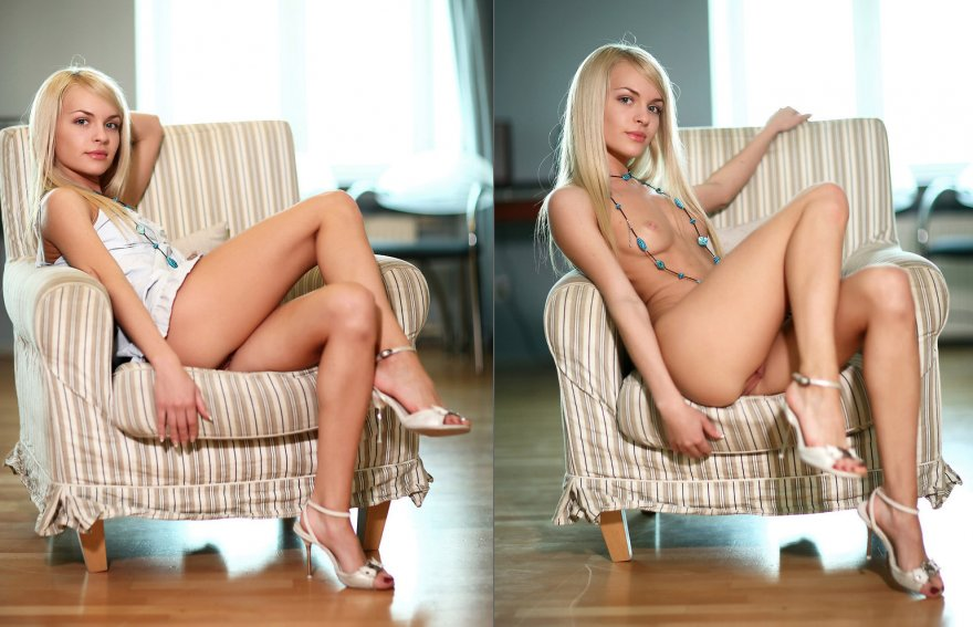 Blonde On Chair, With And Without Porn Photo
