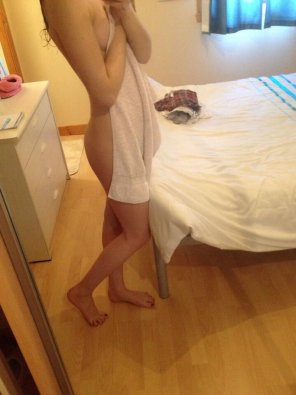 amateur photo Teasing with her towel