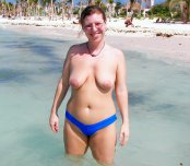 Topless on the shore
