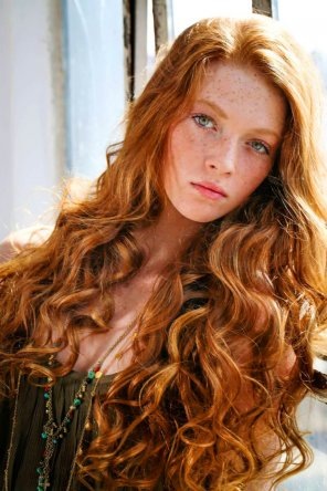 amateur photo Beautiful curly redhead