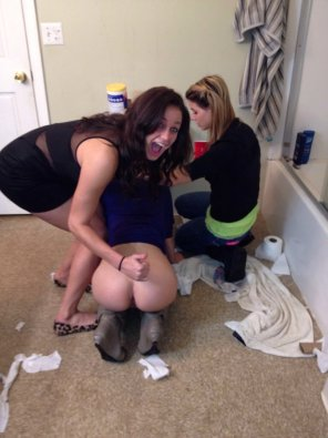 amateur photo Posing with her drunk friend's butt