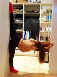 amateur photo Stretching in the doorway