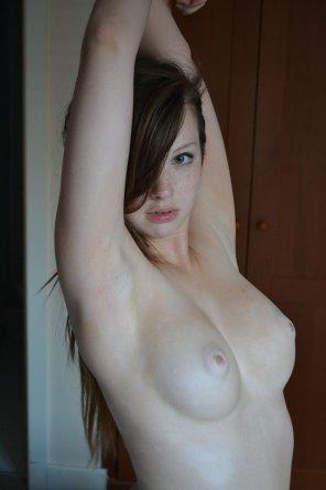 amateur photo Auburn hair, awesome boobies