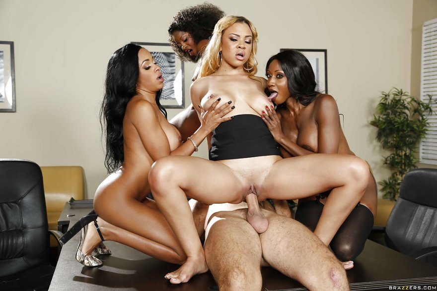 Anya Ivy - Ebony Girls 4 ON 1 office bang Porn Photo