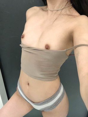 amateur photo How do you feel about small tits and undressing me from behind?