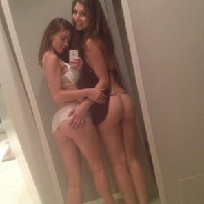 amateur photo Two cute girls self-shooting their behinds