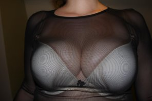 amateur photo Bursting out of my white bra